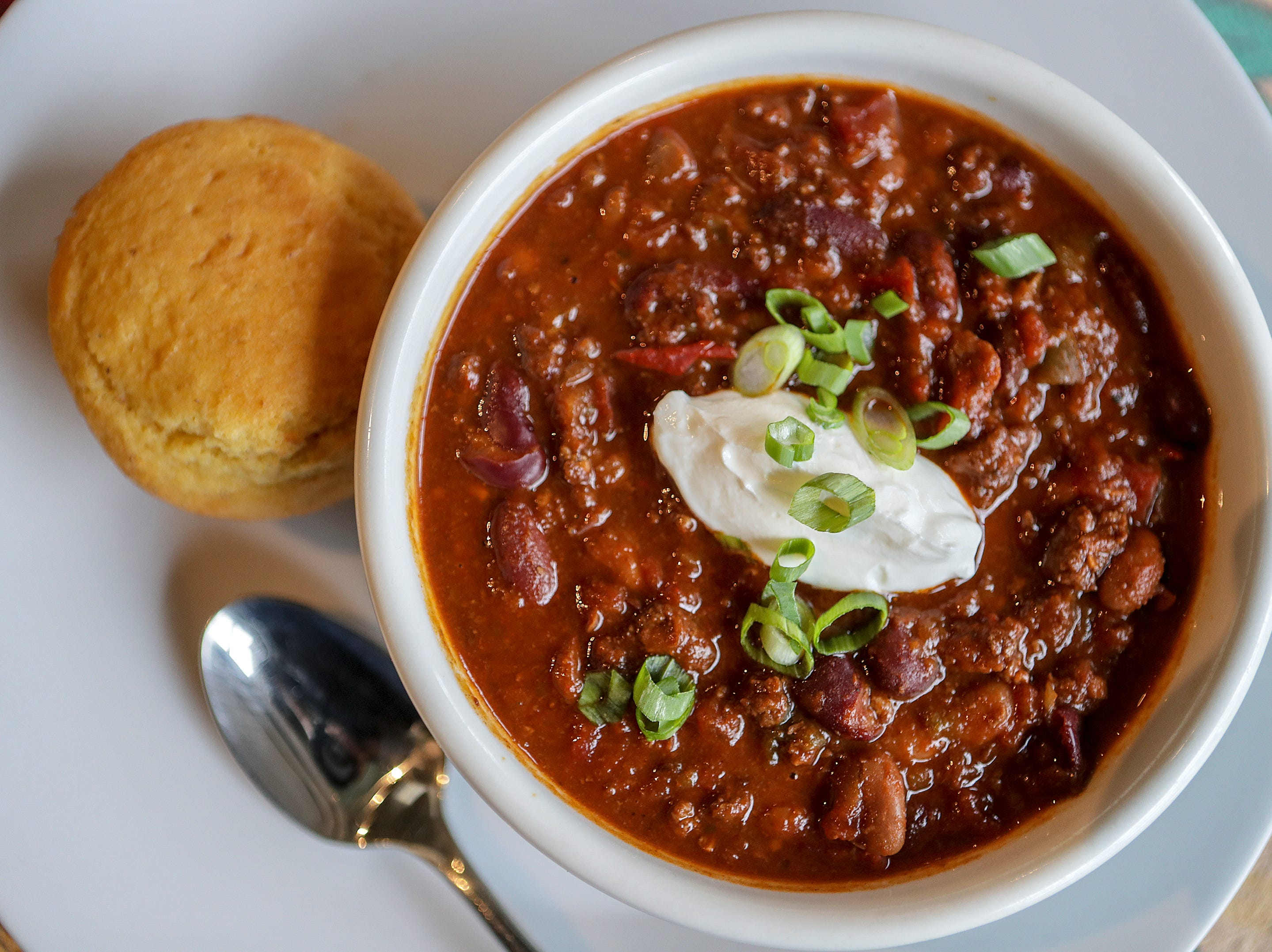 Firehouse Chili made with Foxhollow Farm grass fed beef at Farm To Fork in Portland.