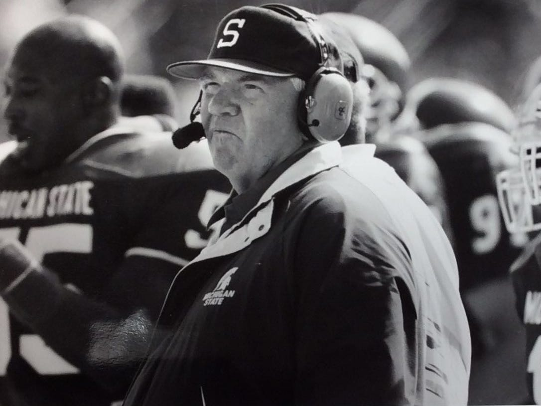 MSU head football coach George Perles reacts to CMU's final touchdown in the fourth quarter, Sept. 12, 1992.