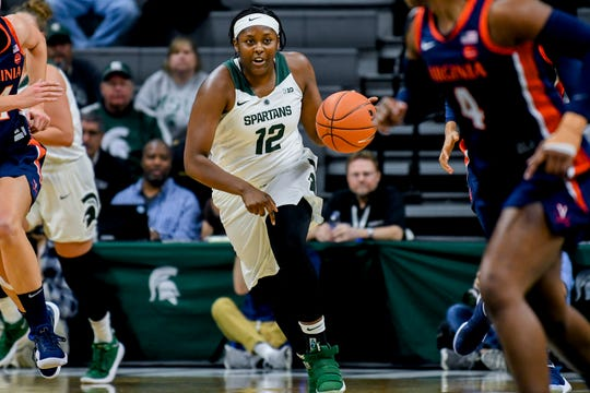 Michigan State's Nia Hollie moves with the ball Virginia's during the first quarter on Wednesday, Nov. 28, 2018, at the Breslin Center in East Lansing.