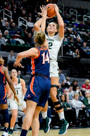 Michigan State's Kayla Belles, right, scores as Virginia's Lisa Jablonowski defends during the fourth quarter on Wednesday, Nov. 28, 2018, at the Breslin Center in East Lansing. The Spartans won 91-66.