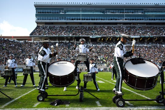 Michigan State's marching band performs during the fourth quarter on Saturday, Sept. 29, 2018, at Spartan Stadium in East Lansing.