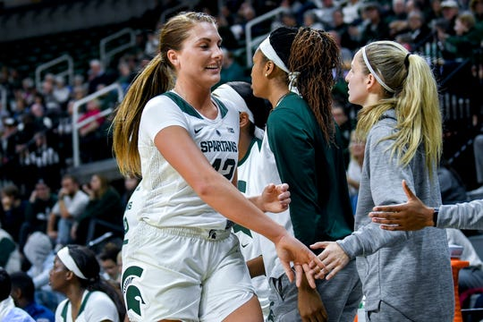 Michigan State's Kayla Belles slaps hands with teammates after her time on the floor against Virginia during the second quarter on Wednesday, Nov. 28, 2018, at the Breslin Center in East Lansing.
