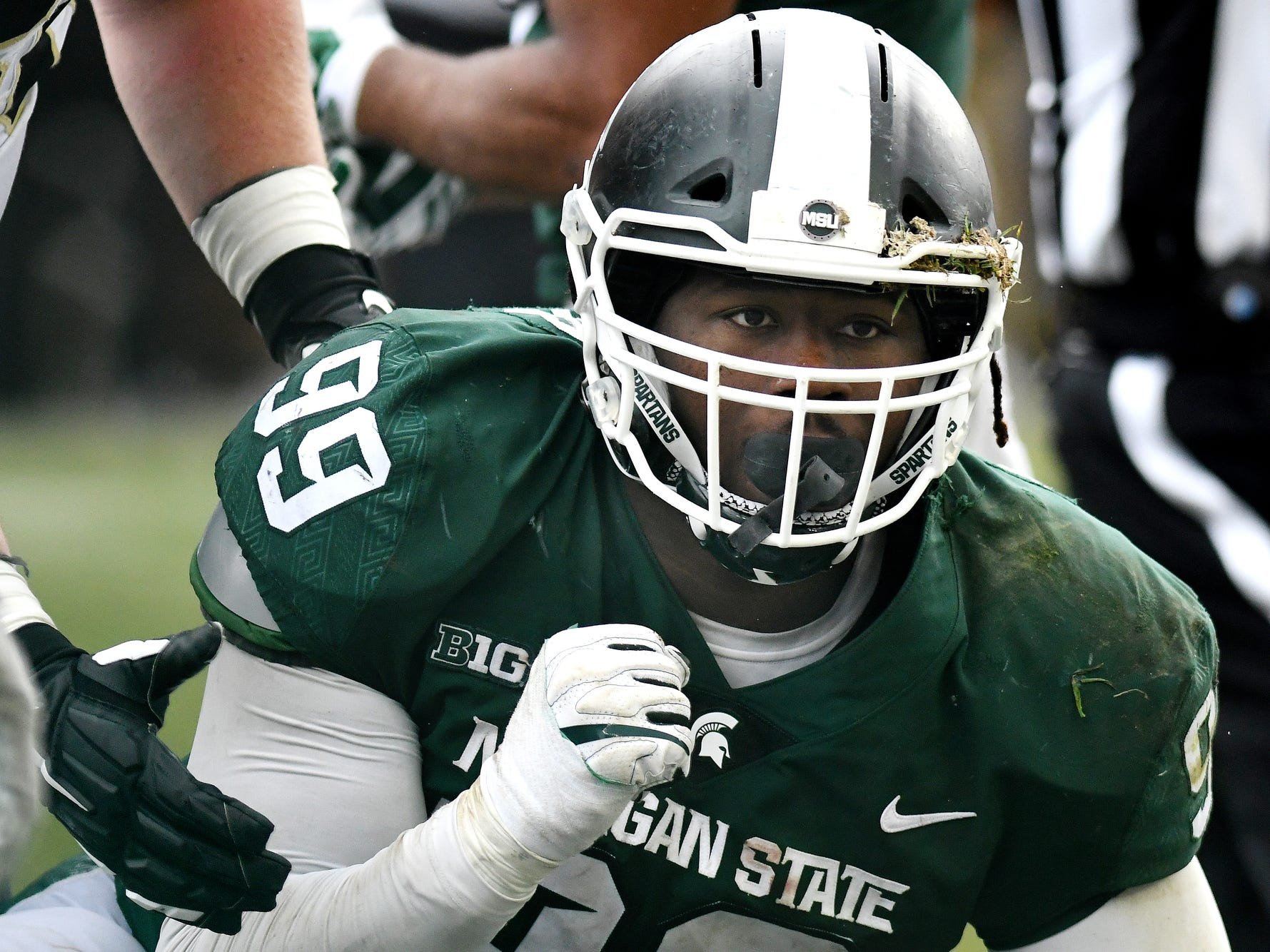 Michigan State's Raequan Williams celebrates after the Spartans stopped Purdue on a third down during the fourth quarter on Saturday, Oct. 27, 2018, at Spartan Stadium in East Lansing.