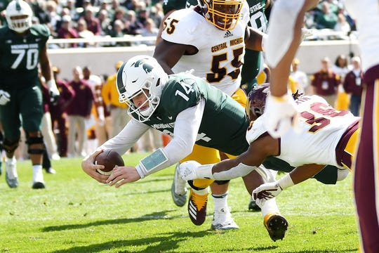 Michigan State quarterback Brian Lewerke is expected to be one of 48 letter winners expected to return for the 2019 season. The Spartans' first home game is 7 p.m. Aug. 30 against Tulsa.