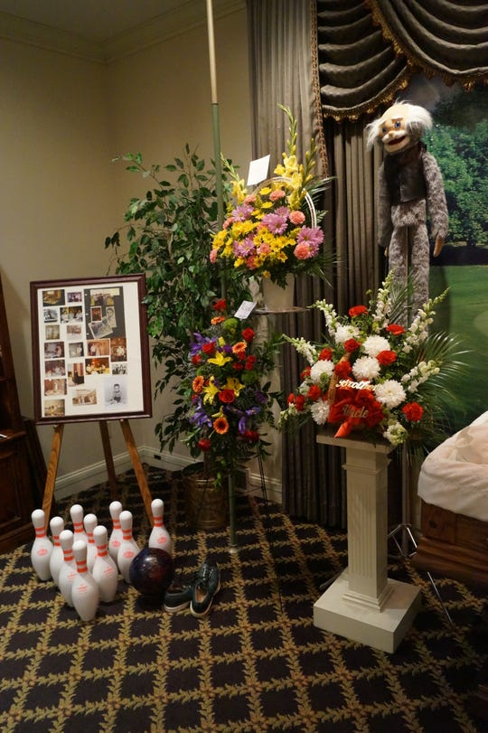 """The funeral for Evan """"Drew"""" Adams , who died March 21, 2017, included a putting green, pool table and a bowling ball and pins to reflect his passion for the sports. Joe. E. Pray, a Charlotte funeral home director, hopes to inspire more creative services with a contest to see Cirque du Soleil's """"Coreo"""" about a funeral for a clown."""