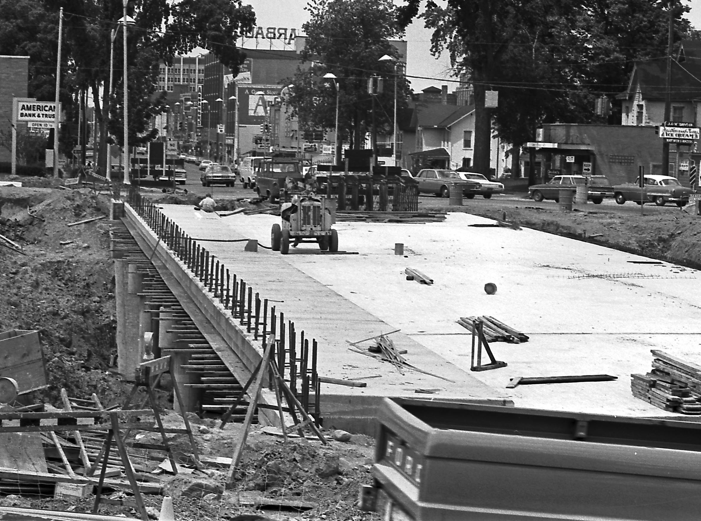 The Washington Avenue bridge takes shape in June 1967, one of several bridges to span the expressway that runs below ground level for some distance.