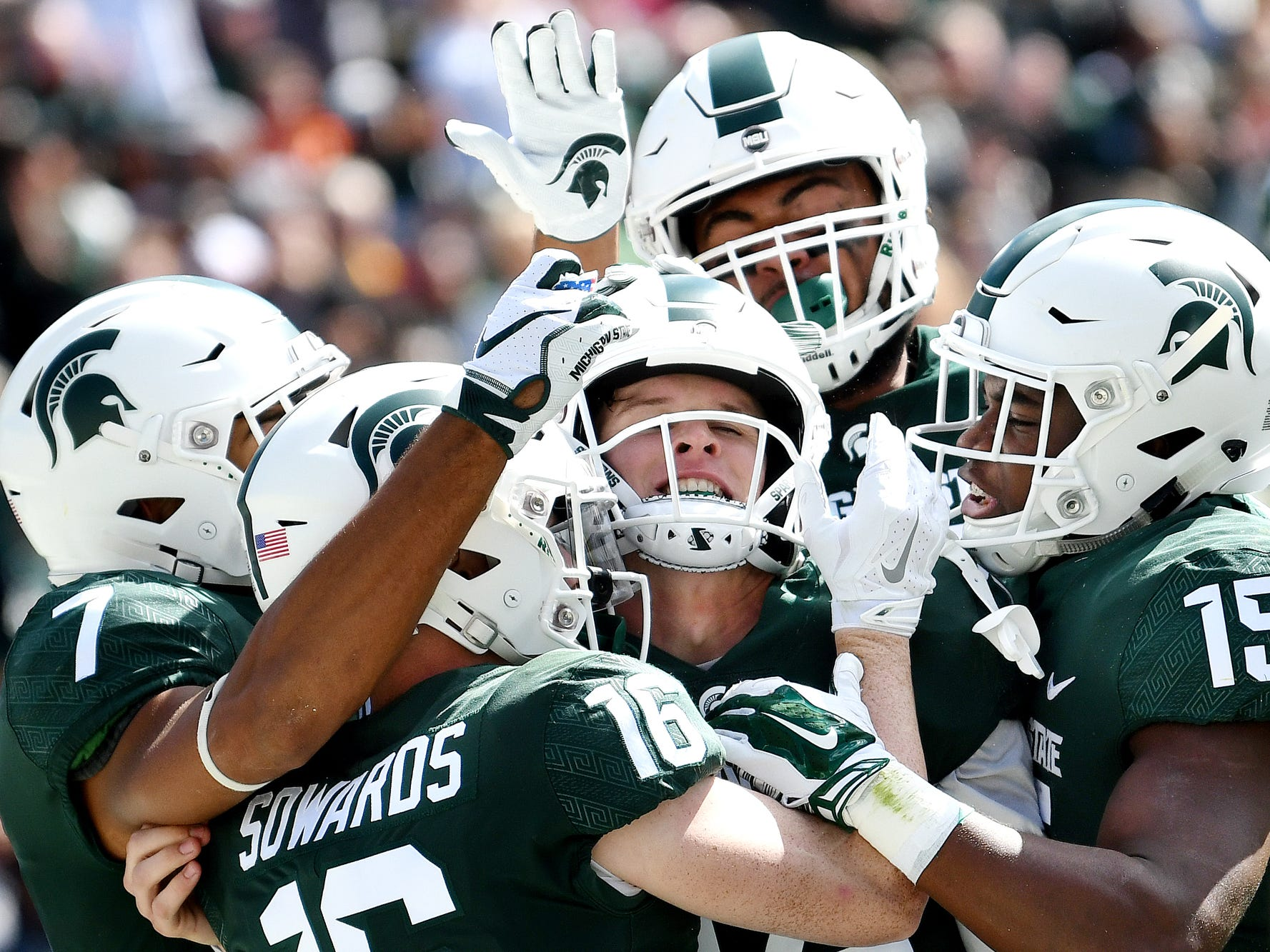 Michigan State's Central Michigan's during the second quarter on Saturday, Sept. 29, 2018, at Spartan Stadium in East Lansing.