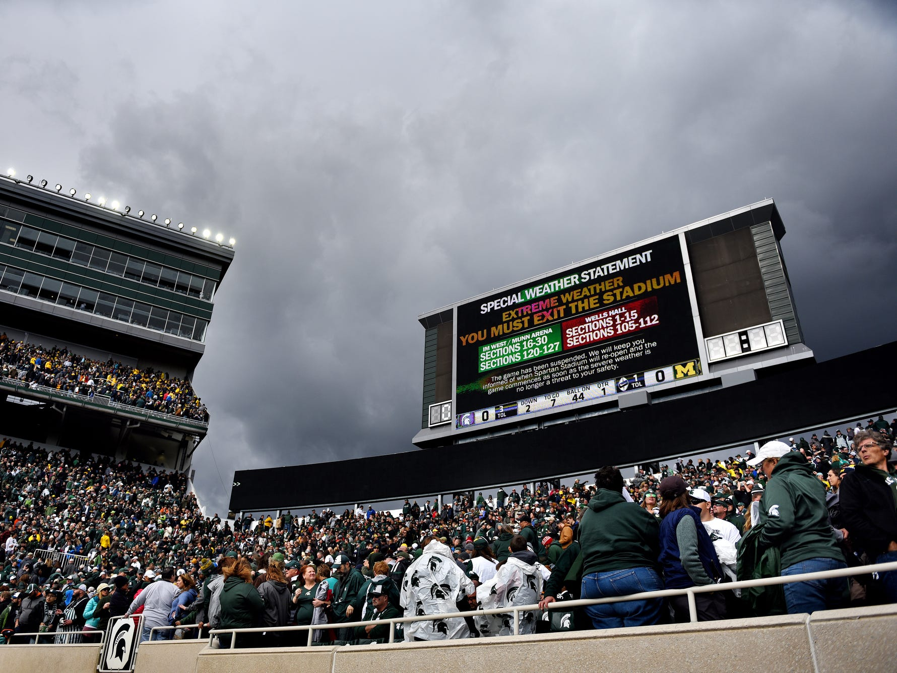 Storm clouds move in over Spartan Stadium after fans were told over the loud speaker to evacuate during an extreme weather delay in the first quarter of MSU vs. U-M game on Saturday, Oct. 20, 2018, in East Lansing.