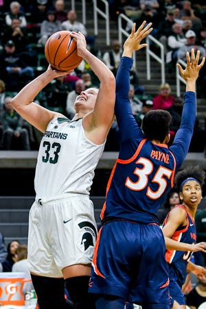 MSU senior center Jenna Allen, shown on Wednesday against Virginia. had 19 points and 10 rebounds in the Spartans' win over Texas Southern on Sunday at Breslin Center.