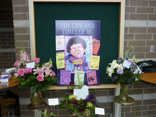 """A marquee reflects Charlotte High School plays at the death of teacher Barbara """"BC"""" Collingsworth-Johnson. Her service, Dec. 21, 2010, won a national award for Pray Funeral Home, which is urging more creativity in funerals through a 2018 contest."""