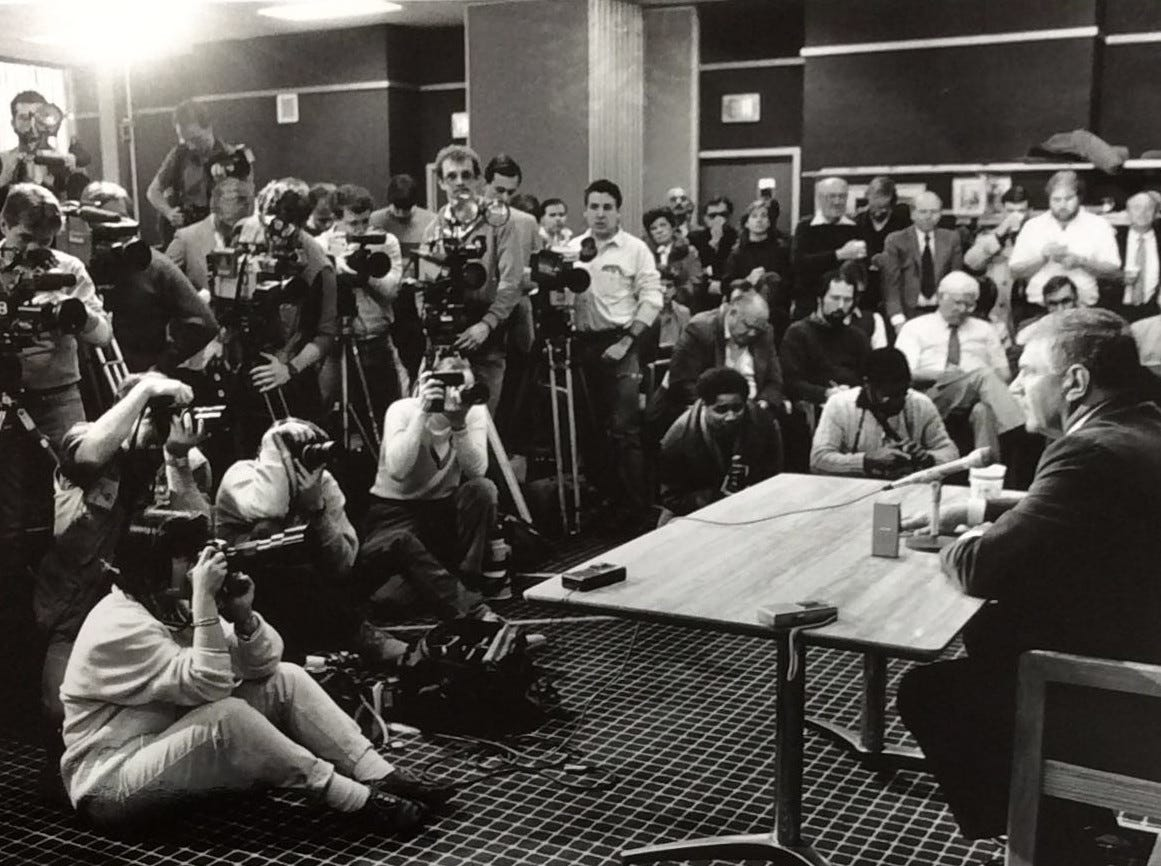 George Perles at the press conference, Jan. 28, 1988, announcing he was staying at MSU.