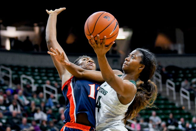 Michigan State's Nia Clouden, right, shoots as Virginia's Jocelyn Willoughby defends during the fourth quarter on Wednesday, Nov. 28, 2018, at the Breslin Center in East Lansing. The Spartans won 91-66.