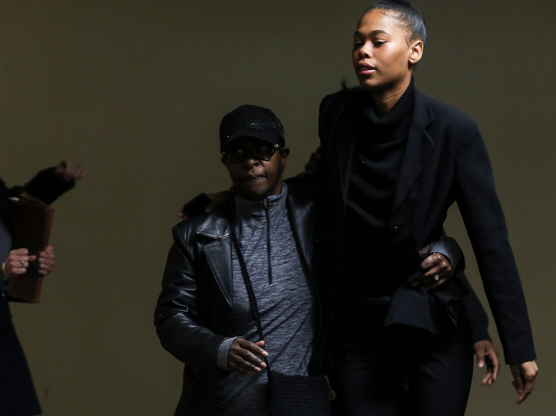 November 29 2018 - Loren Wright, right, daughter of Lorenzen and Sherra Wright, is seen after a trial date of Sept. 16, 2019 was set on Thursday before Criminal Court Judge Lee Coffee. Sherra Wright and Billy Ray Turner are charged with first-degree murder in Lorenzen Wright's July 2010 shooting death.