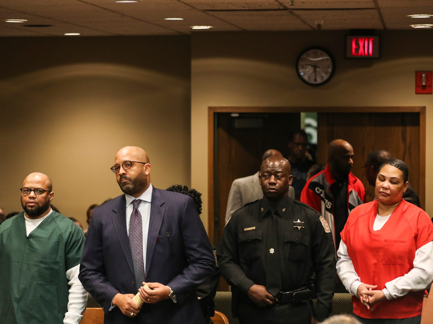 November 29 2018 - Billy Ray Turner, far left, and Sherra Wright, far right, appear in Judge Lee Coffee's courtroom on Thursday. Sherra Wright and Billy Ray Turner are charged with first-degree murder in Lorenzen Wright's July 2010 shooting death.