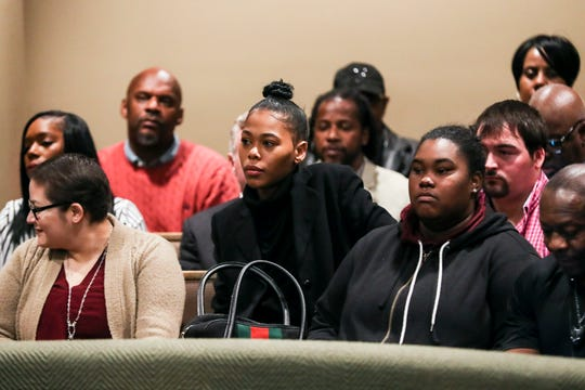 Loren Wright, daughter of Lorenzen and Sherra Wright, is seen in the courtroom on Nov. 29, 2018.