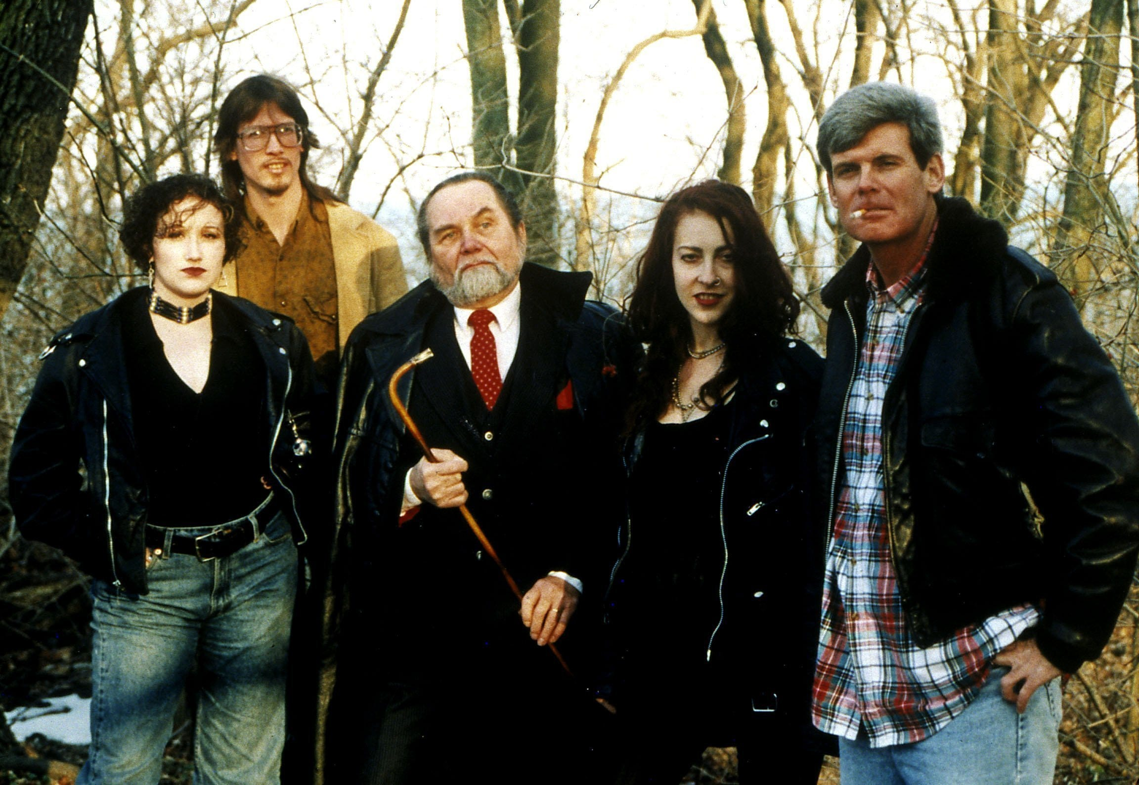 "Mark Borchardt (back row) and his cast from ""Coven."" Borchardt's effort to make his low-budget horror movie are at the heart of the award-winning documentary ""American Movie."""