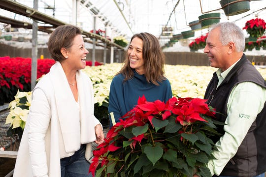 During this holiday season, Karthauser & Sons is once again selling its popular earth-friendly evergreen planters and supplying Sendik's Home with interesting, unique varieties of poinsettias. Pictured left to right: Margaret Harris, Sendik's Co-Owner; Mary Jo Sargent, Sendik's Home Buyer and Gregg Wilke, Karthik & Sons General Manager.