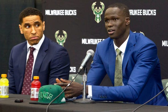 Thon Maker (right) and Malcolm Brogdon appear at a news conference in Milwaukee following the 2016 NBA draft. Maker was the 10th overall pick; Brogdon was the Bucks' second-round pick in the same draft.