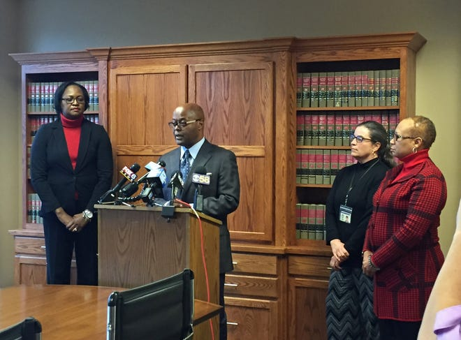 Milwaukee County Sheriff-elect Earnell Lucas (center) announced appointments Thursday of Denita Ball (from left) as chief deputy sheriff, Molly Zillig as chief legal and compliance officer and Faithe Colas as director of public affairs and community engagement. Lucas becomes the county's 65th sheriff on Jan. 7.