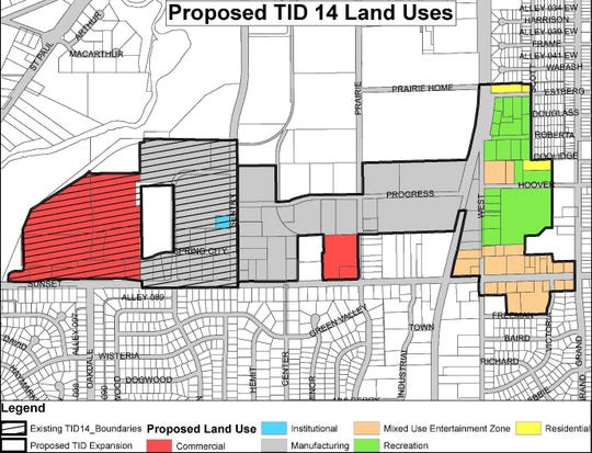 The map shows how Tax Increment Financing District 14 would be extended east of Sentry Drive toward Grand Avenue in the city of Waukesha. The Mindiola Park baseball stadium and future soccer fields would be within the area depicted in green on the map.