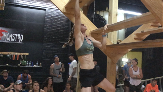At 6 feet tall, Brittany Holterman is usually one of the taller obstacle course competitors.