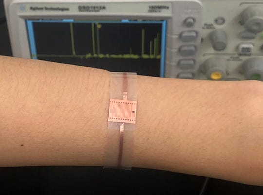 A new bandage developed by UW-Madison researchers is powered by energy harvested from a patient's movement to accelerate wound healing by delivering gentle electric pulses to the wound. Photo by Xudong Wang / UW-Madison