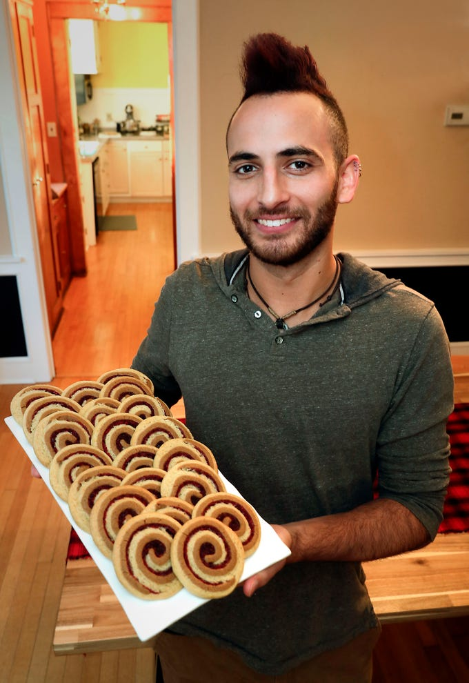 Mike Behringer, 2018 Holiday Cookie Contest winner, displays his Cranberry Chai Swirls.