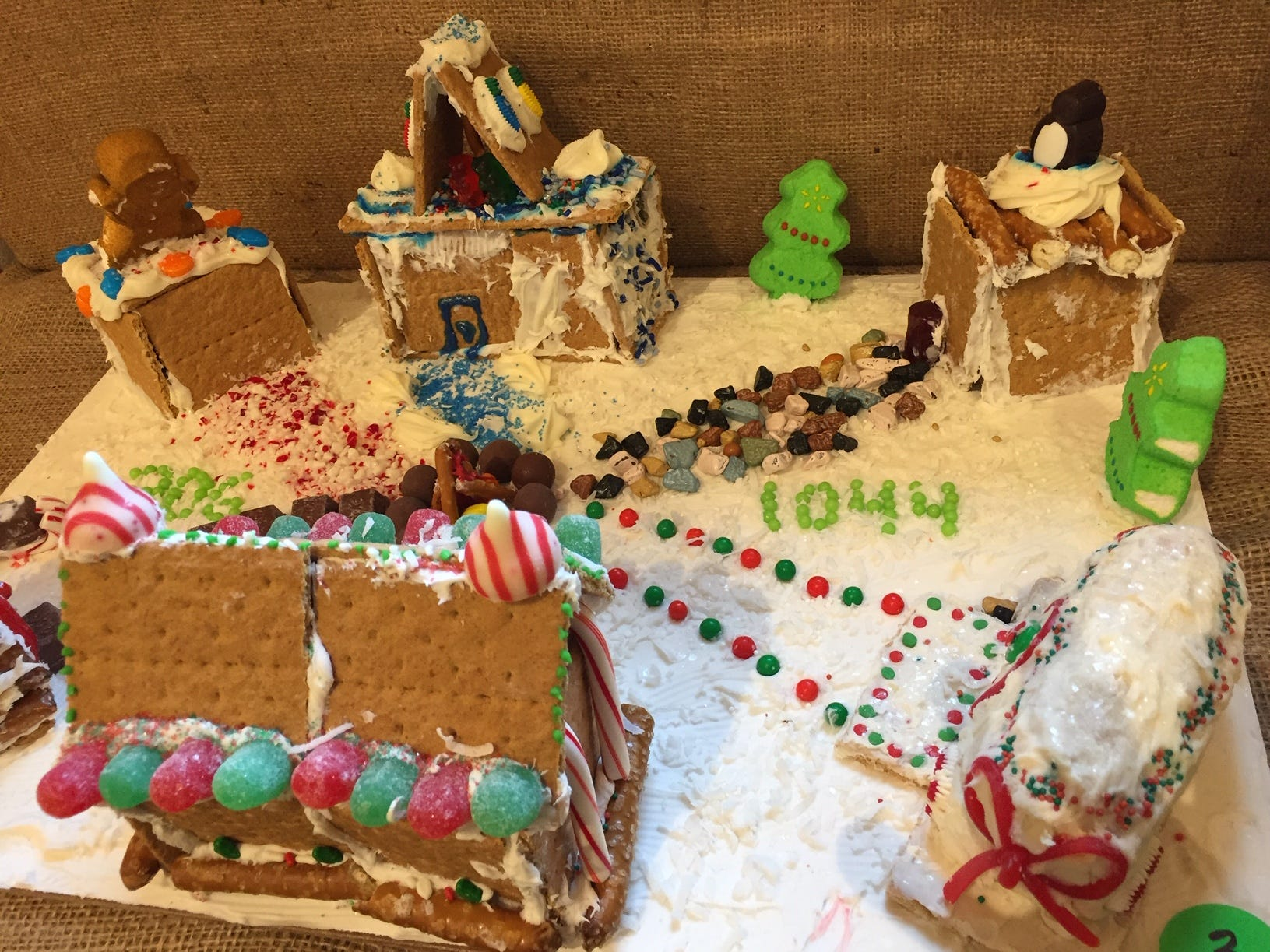 """Winter at Camp"" by Rockaway Senior Girl Scouts Troops 3064 and 1044, grade 10, at the 2018 Gingerbread Wonderland at the Frelinghuysen Arboretum. Scout category."