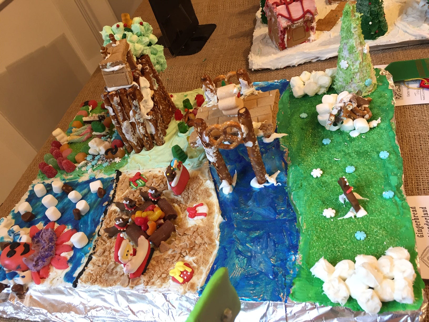 """Bridge to Dreamland"" by Rockaway Girl Scout Troop 95126, 7th graders, at the 2018 Gingerbread Wonderland at the Frelinghuysen Arboretum. Scout category."