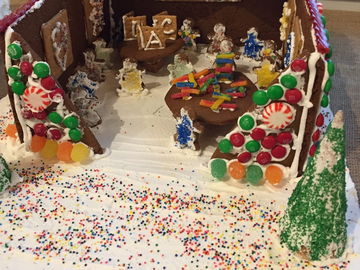 """The Kinder House, Learning is Exciting!"" by St. Andrew's Kindergarten of New Providence, at the 2018 Gingerbread Wonderland at the Frelinghuysen Arboretum. School category."
