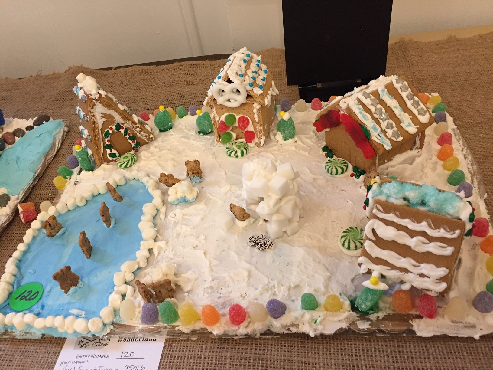 """Teddy Graham Village"" by Morristown Girl Scout Troop 95016, eighth grade, at the 2018 Gingerbread Wonderland at the Frelinghuysen Arboretum. Scout category."