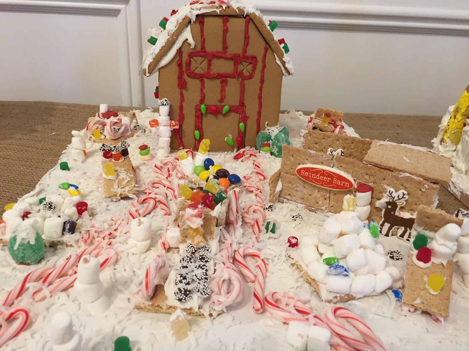 """Santa's Workshop, Winter Village"" by Scout Troop CO284 of Rockaway, 4th graders, at the 2018 Gingerbread Wonderland at the Frelinghuysen Arboretum. Scout category."
