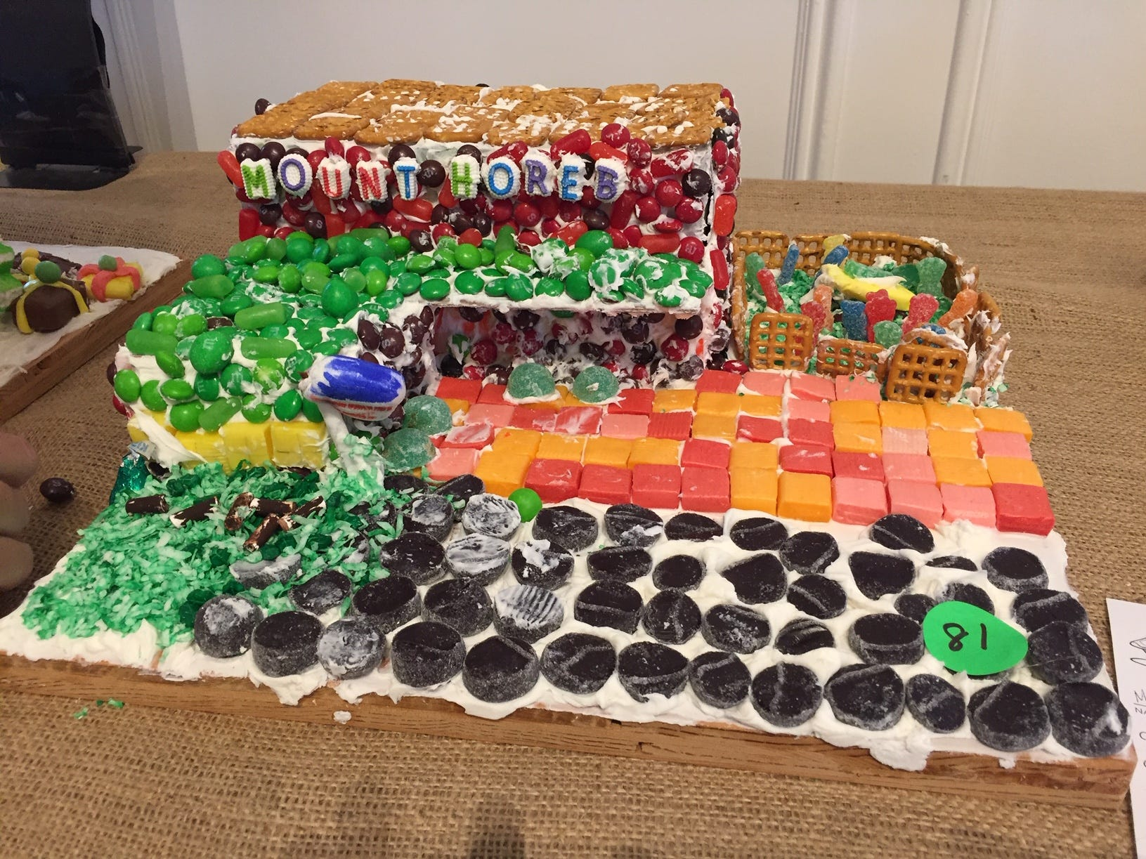 """We love our school, Mt. Horeb School!"" by Mrs. Maag/Mrs. Harris K class at Mt. Horeb School, Warren, at the 2018 Gingerbread Wonderland at the Frelinghuysen Arboretum. School category."