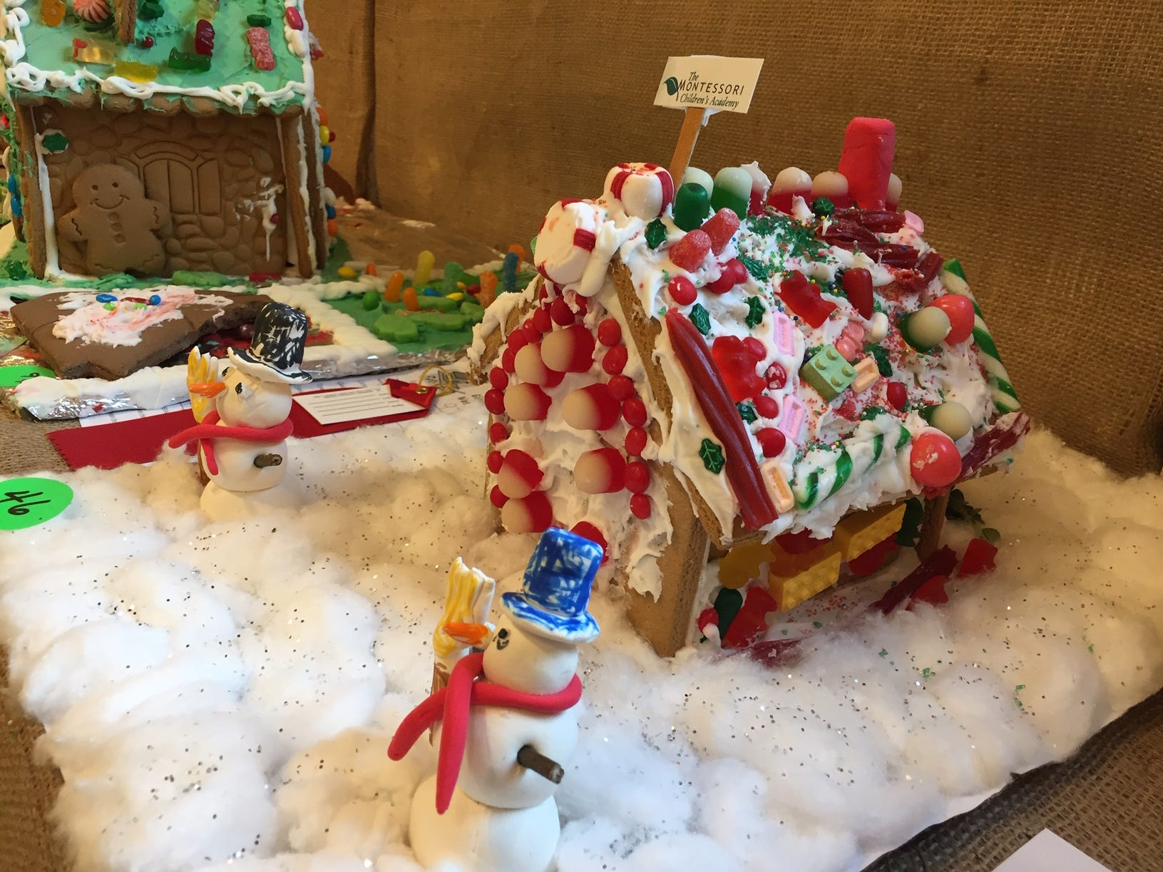 """Snowman's house"" by Montessori Children's Academy in Morristown, grade K, at the 2018 Gingerbread Wonderland at the Frelinghuysen Arboretum. School category."