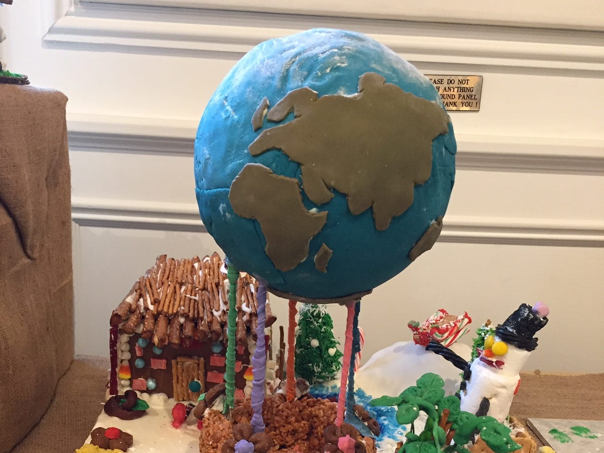 """One World"" by Laura DeVito - Girl Scout Troop 63318 of Bernardsville, 4th graders, at the 2018 Gingerbread Wonderland at the Frelinghuysen Arboretum. Scout category."