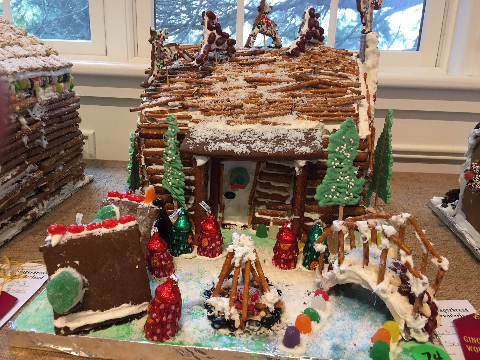 """Santa visits Camp"" by Troup 63218, third grade, of Bernardsville, at the 2018 Gingerbread Wonderland at the Frelinghuysen Arboretum. Scout category"