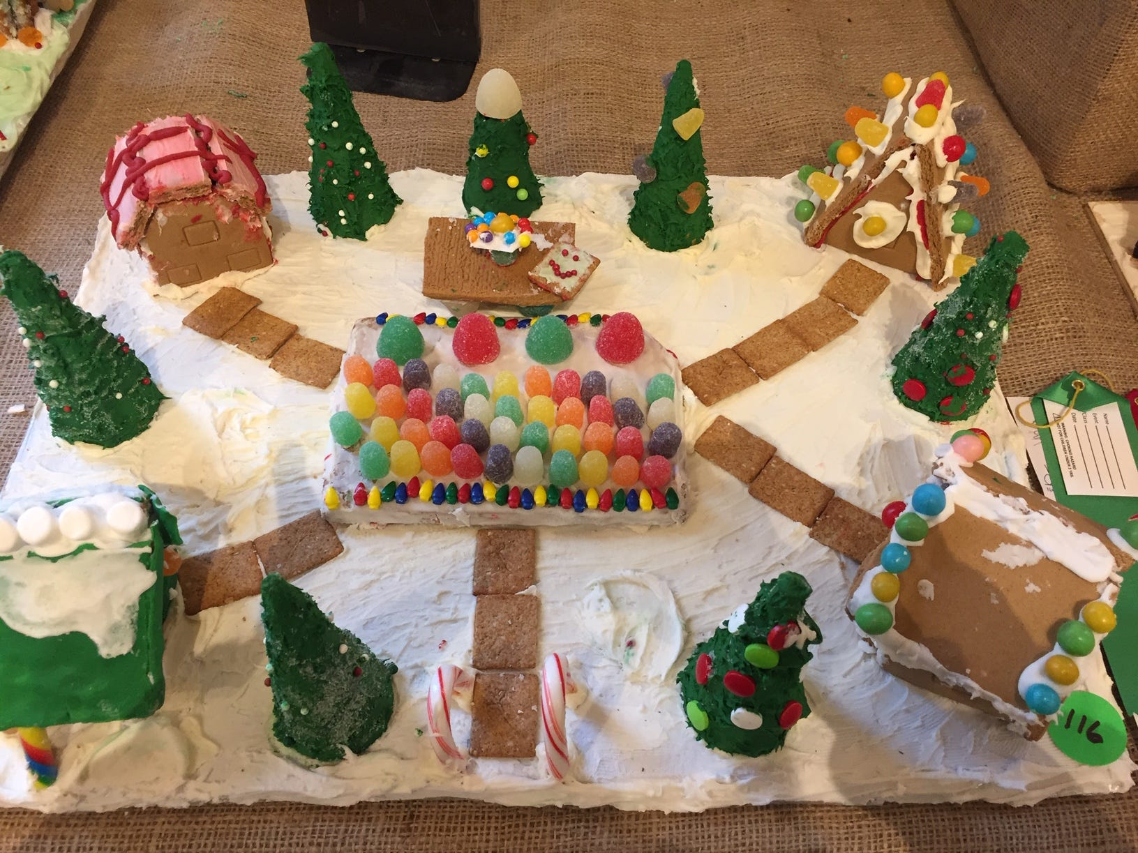 """Gum Drop Garden"" by Hawthorne/North Haledon Troop 94692 at the 2018 Gingerbread Wonderland at the Frelinghuysen Arboretum. Scout category."