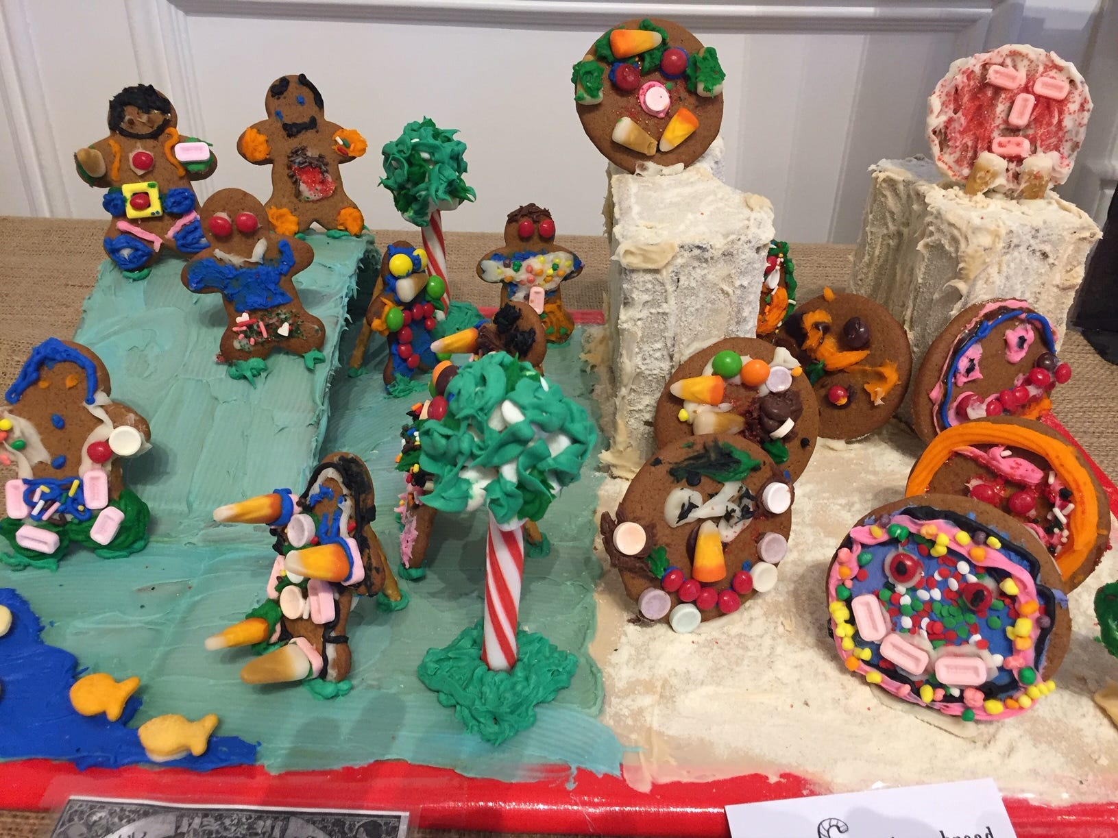 """Runaway Tortillas and Gingerbread Men"" by FN Brown ESL class, K-4, Verona, at the 2018 Gingerbread Wonderland at the Frelinghuysen Arboretum. School category."