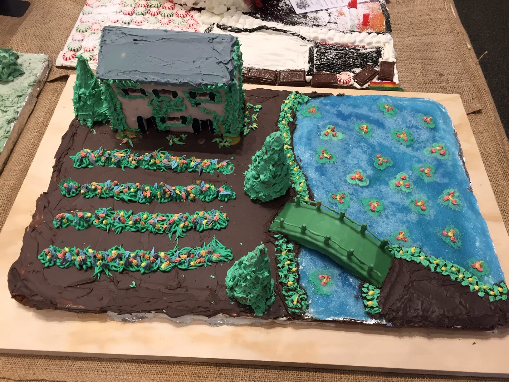 Monet's Garden by Benjamin Do, 11th grade, Mendham, at the 2018 Gingerbread Wonderland at the Frelinghuysen Arboretum.  Special Needs category.