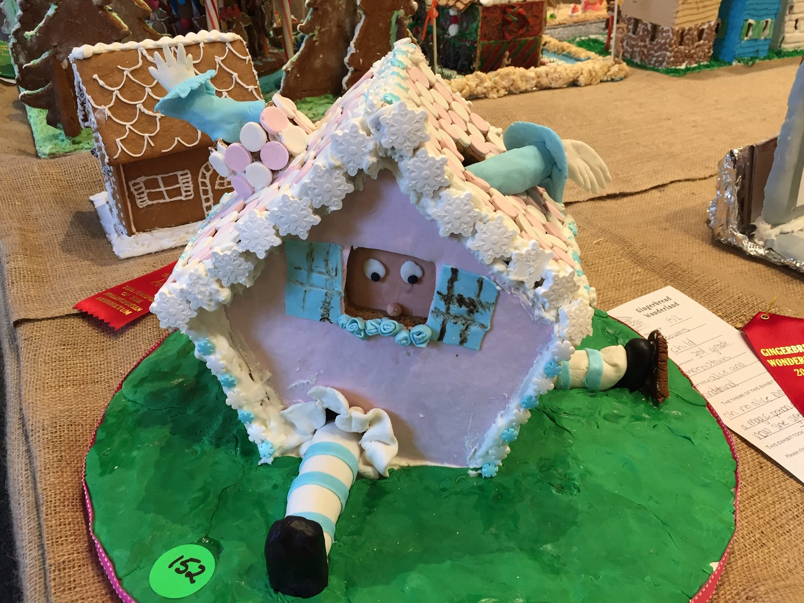 """Alice in Wonderland"" by third grader Natalie Bowers of Morristown, at the 2018 Gingerbread Wonderland at the Frelinghuysen Arboretum.  Child category."