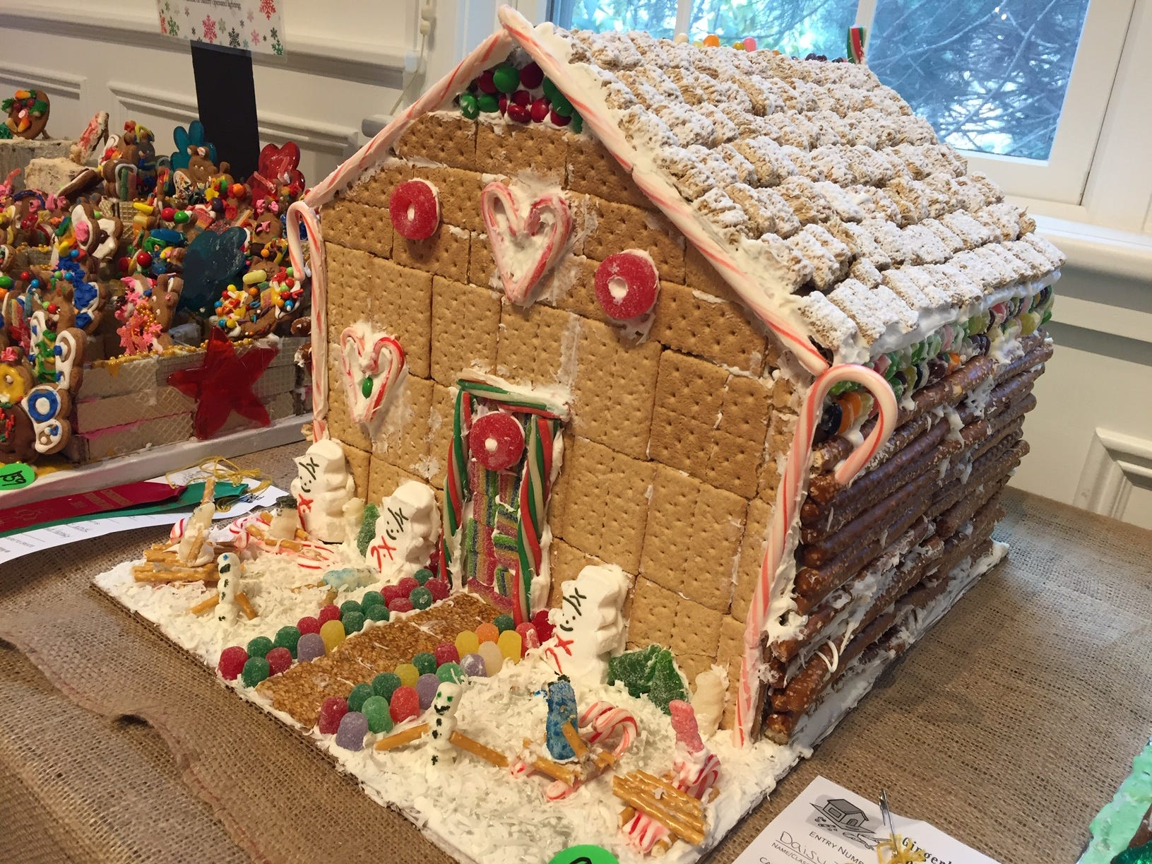 """Candy"" by Daisy Troop 7464 of Hanover Township, at the 2018 Gingerbread Wonderland at the Frelinghuysen Arboretum."