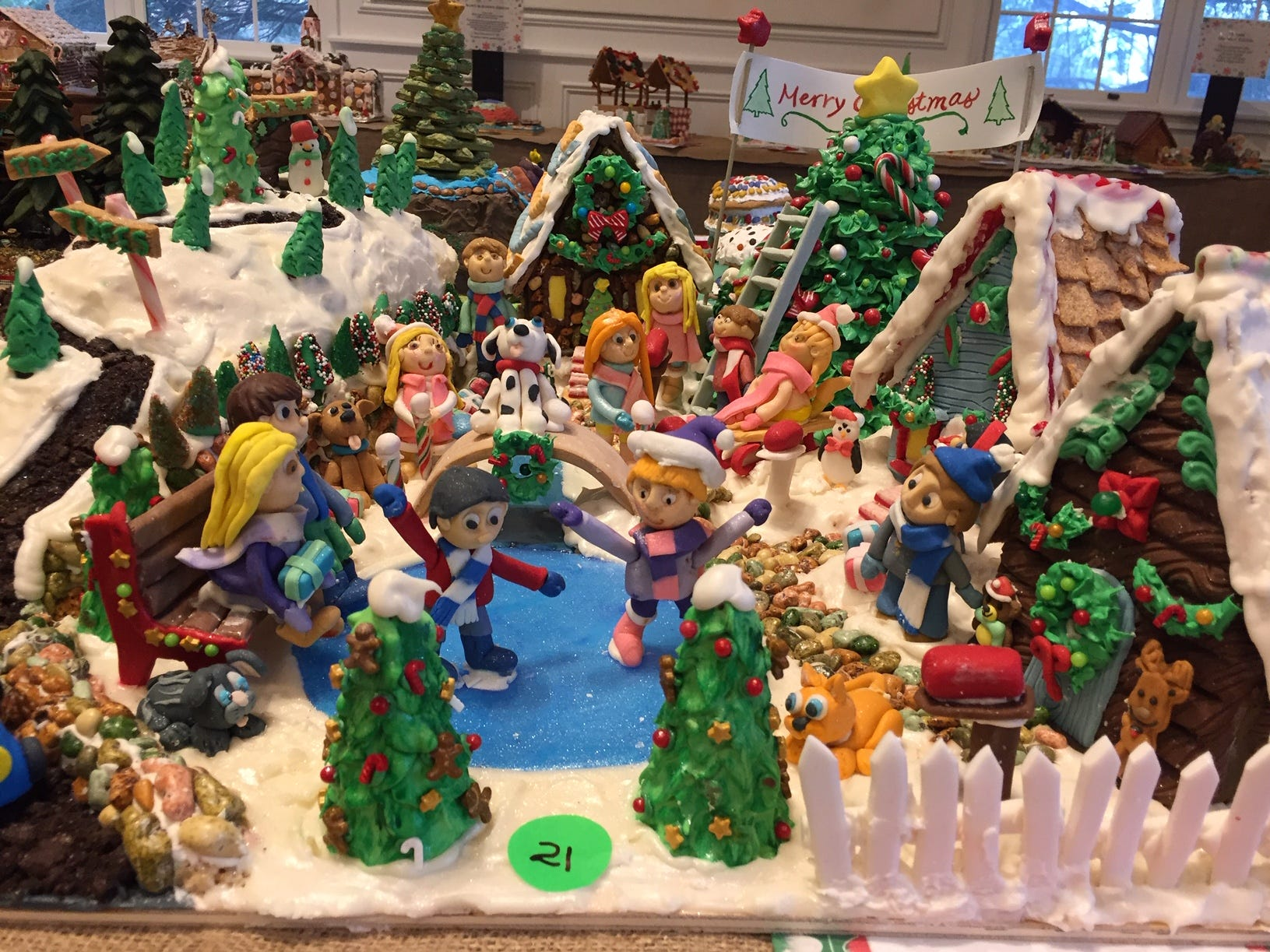 """Skating into Christmas"" by Carrie and Jane of Boonton Township, at the 2018 Gingerbread Wonderland at the Frelinghuysen Arboretum. Adult category."