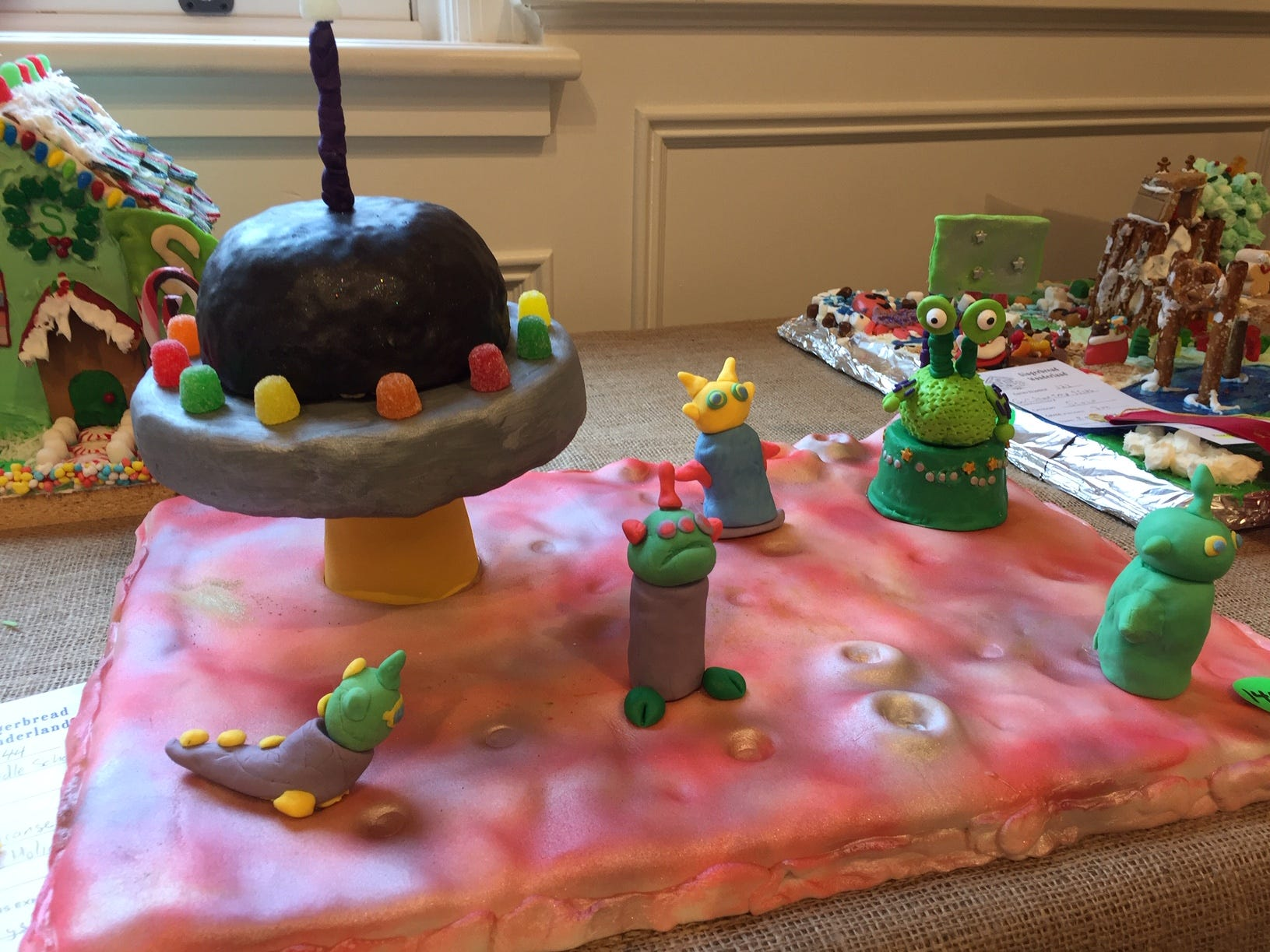 """Happy Holidays Earthlings!"" by South Orange Middle School at the 2018 Gingerbread Wonderland at the Frelinghuysen Arboretum. School category."