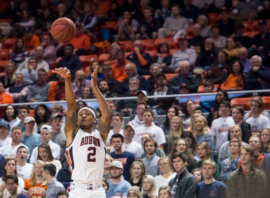 Auburn guard Bryce Brown (2) makes a three pointer against Saint Peter's at Auburn Arena in Auburn, Ala., on Wednesday, Nov. 28, 2018. Auburn leads Saint Peter's 51-23 at halftime.