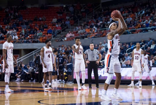 Auburn guard Bryce Brown (2) shoots free throws following a technical foul at Auburn Arena in Auburn, Ala., on Wednesday, Nov. 28, 2018. Auburn defeated Saint Peter's 99-49.