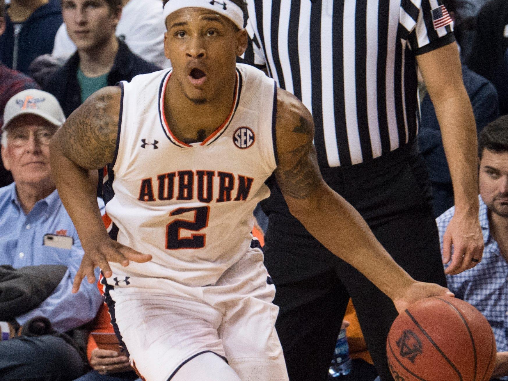 Auburn guard Bryce Brown (2) drives to the baseline at Auburn Arena in Auburn, Ala., on Wednesday, Nov. 28, 2018. Auburn defeated Saint Peter's 99-49.