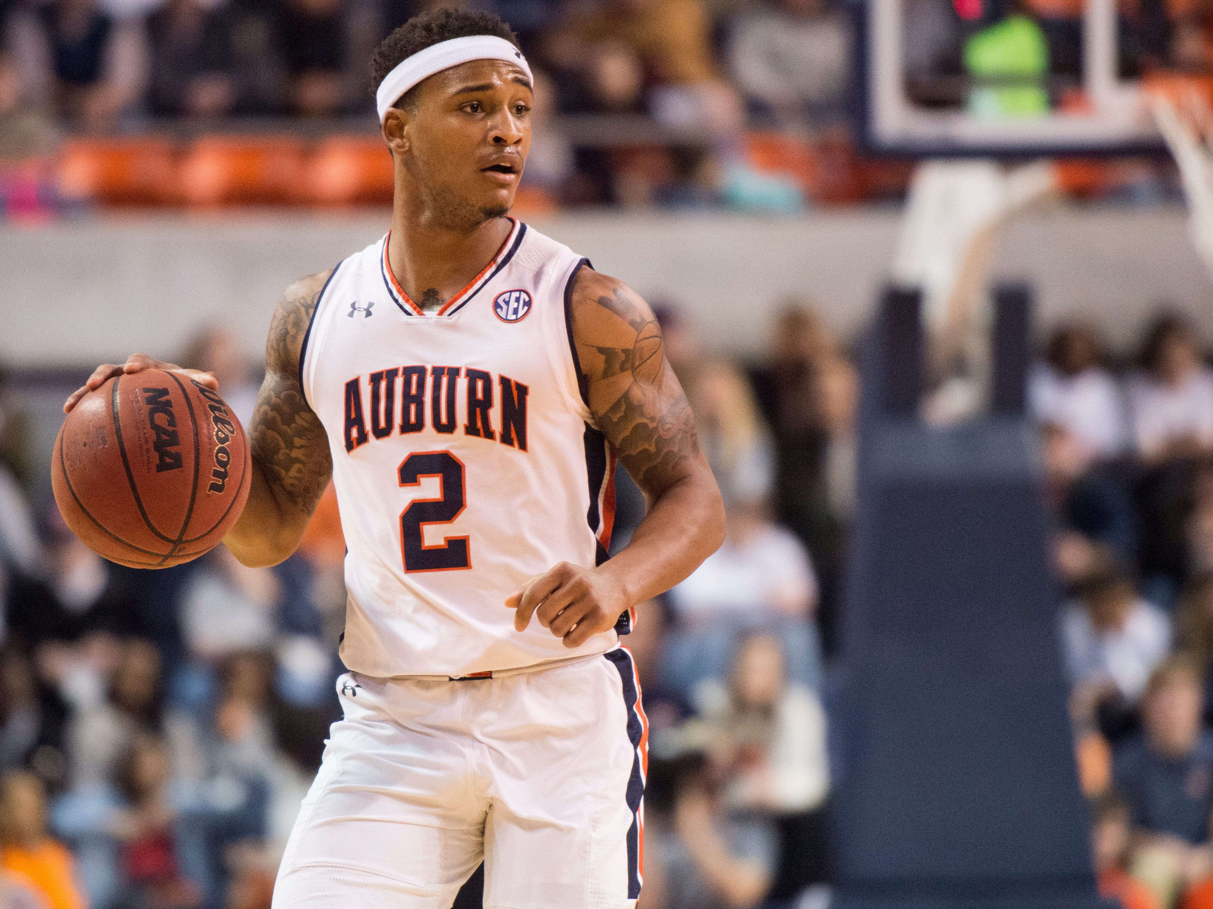 Auburn guard Bryce Brown (2) dribbles the ball down the court at Auburn Arena in Auburn, Ala., on Wednesday, Nov. 28, 2018. Auburn defeated Saint Peter's 99-49.