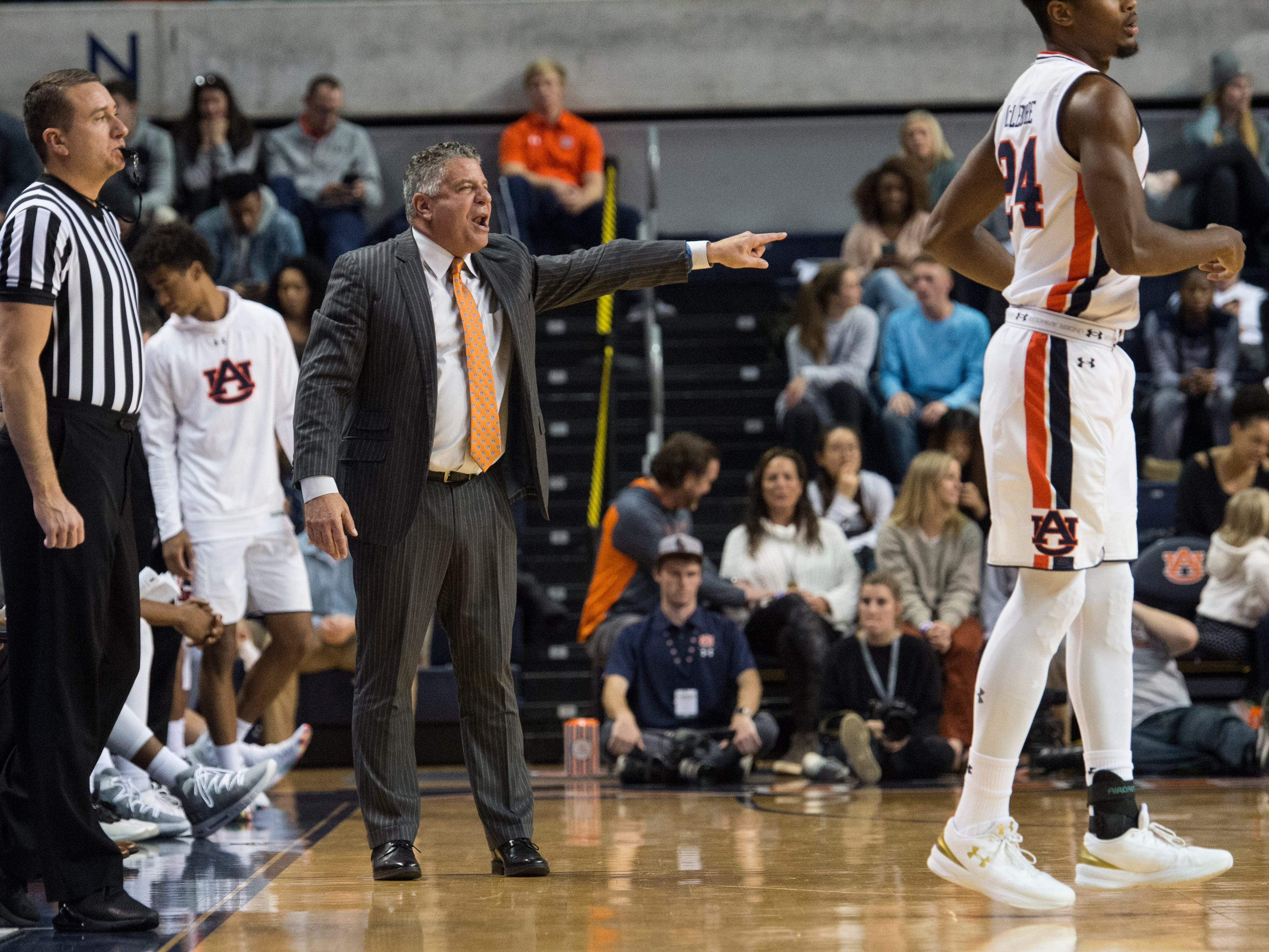Auburn head coach Bruce Pearl yells at the players from the bench at Auburn Arena in Auburn, Ala., on Wednesday, Nov. 28, 2018. Auburn defeated Saint Peter's 99-49.