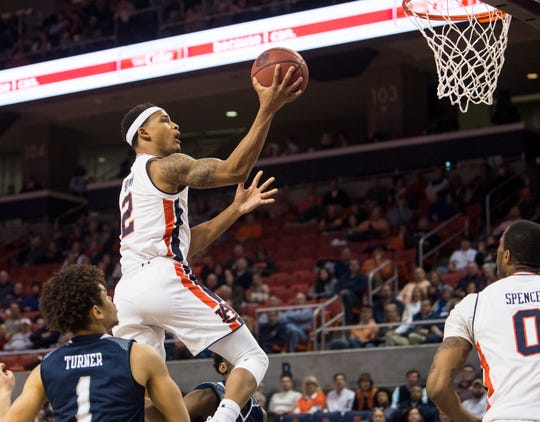 Auburn guard Bryce Brown (2) goes up for a layup against Saint Peter's at Auburn Arena in Auburn, Ala., on Wednesday, Nov. 28, 2018. Auburn defeated Saint Peter's 99-49.