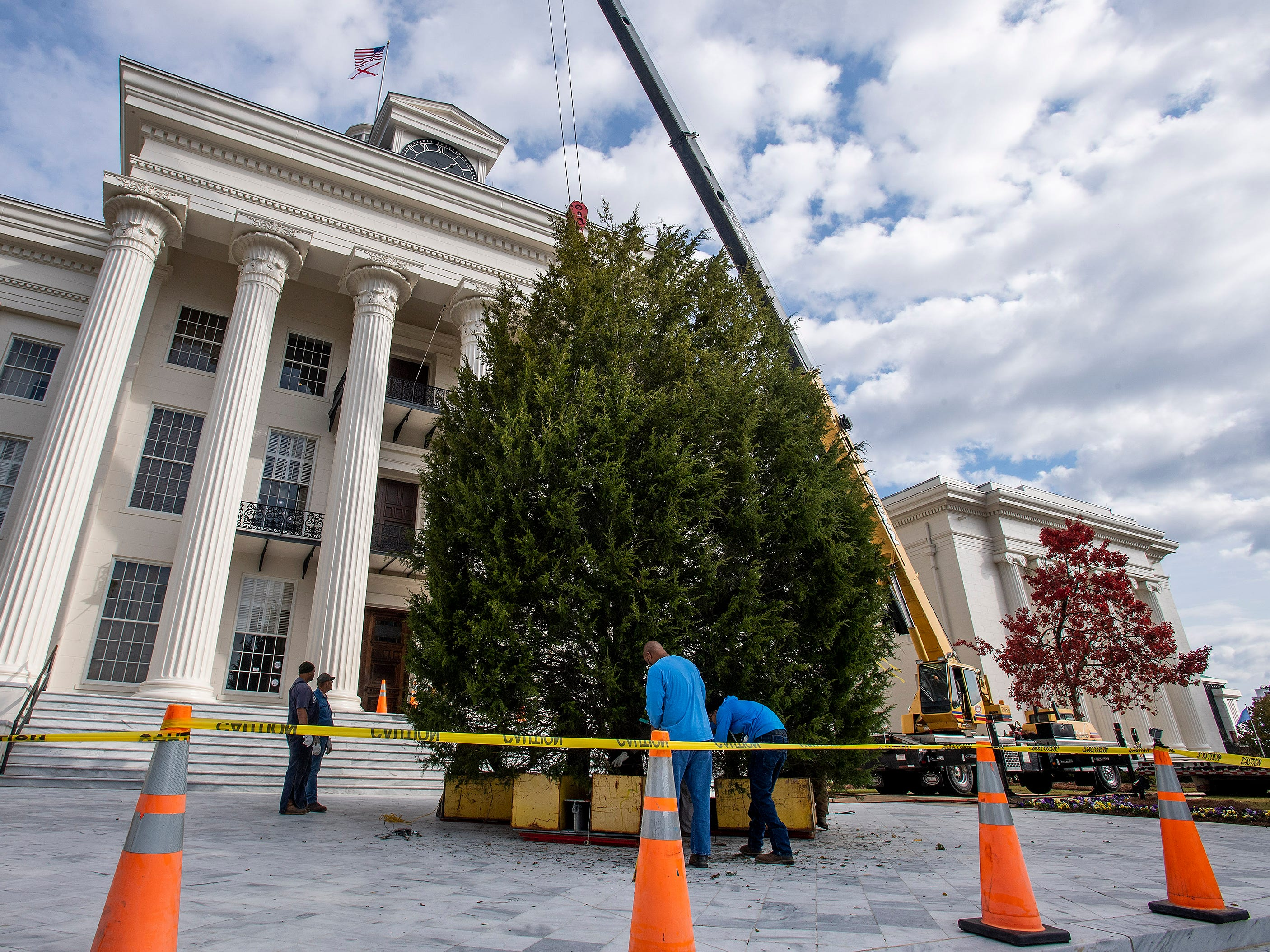The State Capitol Christmas Tree is installed on the state capitol steps in Montgomery, Ala., on Thursday November 29, 2018. The tree will be decorated next week and the Tree Lighting will be held on Friday December 7.